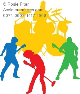 258x300 Clip Art Illustration Of The Colored Silhouette Of A Band