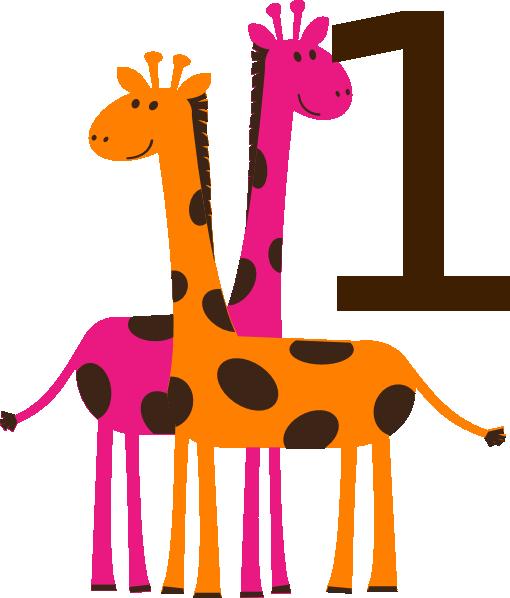 510x598 First Birthday Giraffes Clip Art