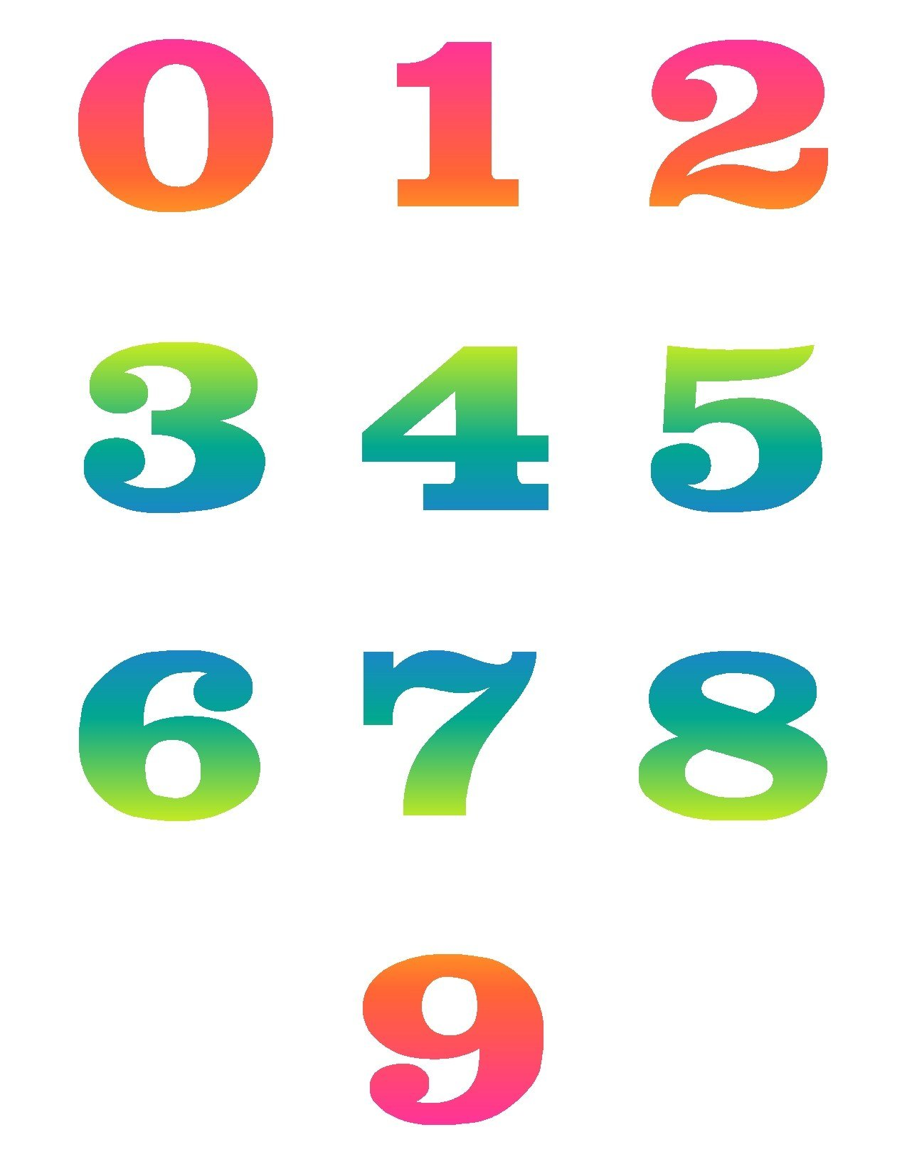 1275x1650 Numbers 1 10 Clip Art