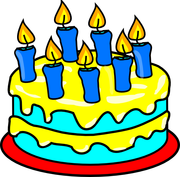 600x589 Birthday Cake With 7 Candles Clipart 10 Clip Art