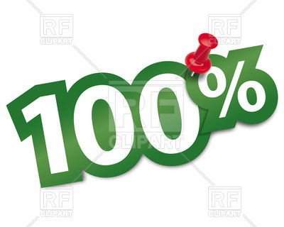 400x320 Hundred Percent Sticker Fixed By Thumbtack Royalty Free Vector
