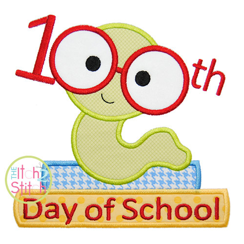 500x500 100th Day Book Worm Applique Day Of School Text