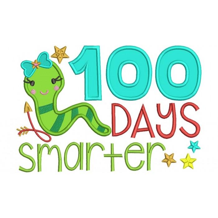 700x700 100 Days Smarter Girl Book Worm School Applique Machine Embroidery
