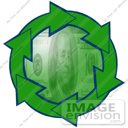 450x450 Clip Art Graphic Of Green Arrows Circling A Green 100 Dollar Bill