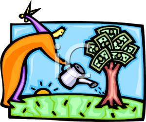 300x250 Clip Art Image A Man Watering A Tree Growing Dollar Bills