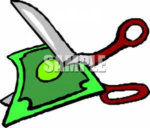 300x255 Scissors Cutting Up A Dollar Bill