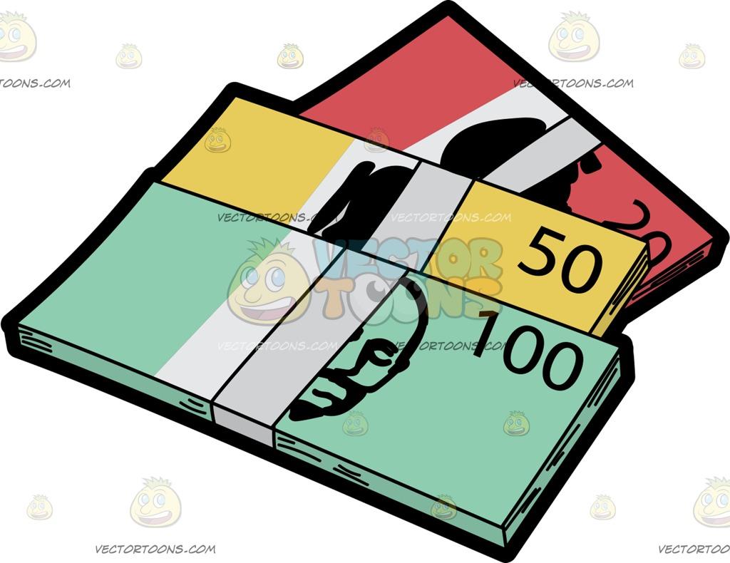 1024x790 Bundles Of Australian Dollar Bills Cartoon Clipart Vector Toons