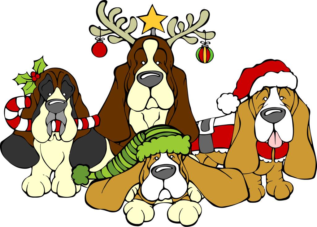 1024x736 Basset Hound Clipart Christmas