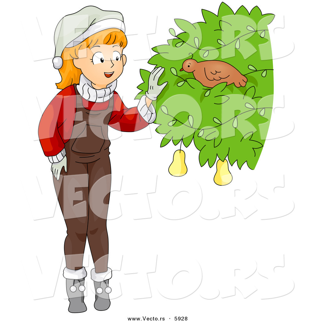 1024x1044 Cartoon Vector Of A Christmas Girl Finding A Partridge In A Pear