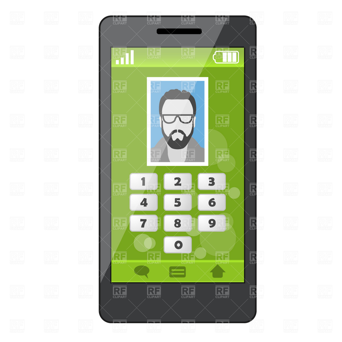 1200x1200 Smartphone With Contact Profile Royalty Free Vector Clip Art Image
