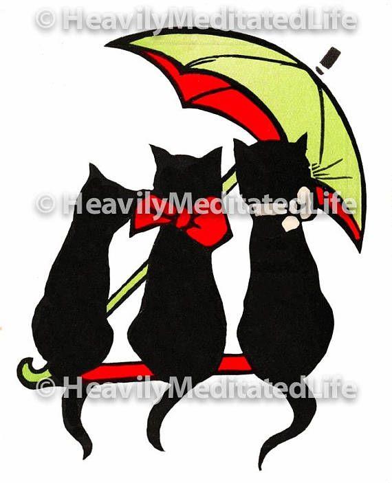 570x703 1920s 3 Black Cats W Umbrella Graphic Instant Download