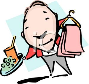 300x285 A Butler With A Tray Of Food And Dry Cleaning Clipart Picture
