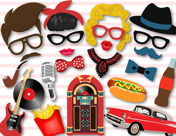570x440 Instant Download 50's Photo Booth Props 1950s Party