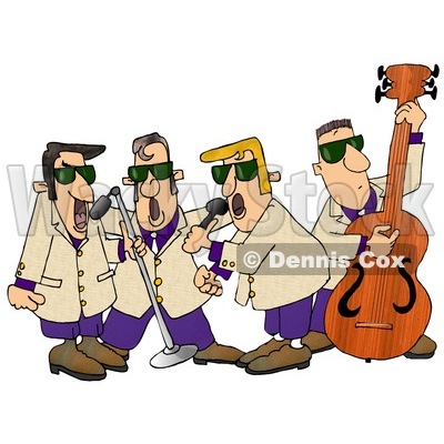 400x400 Musicians Playing 1950's Style Blues Music Clipart Illustration