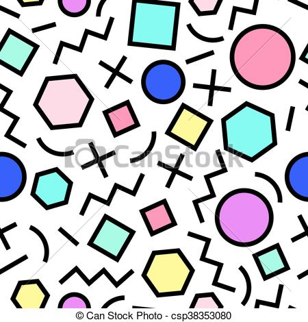450x470 Vector Seamless Geometric Pattern. Memphis Style. Abstract