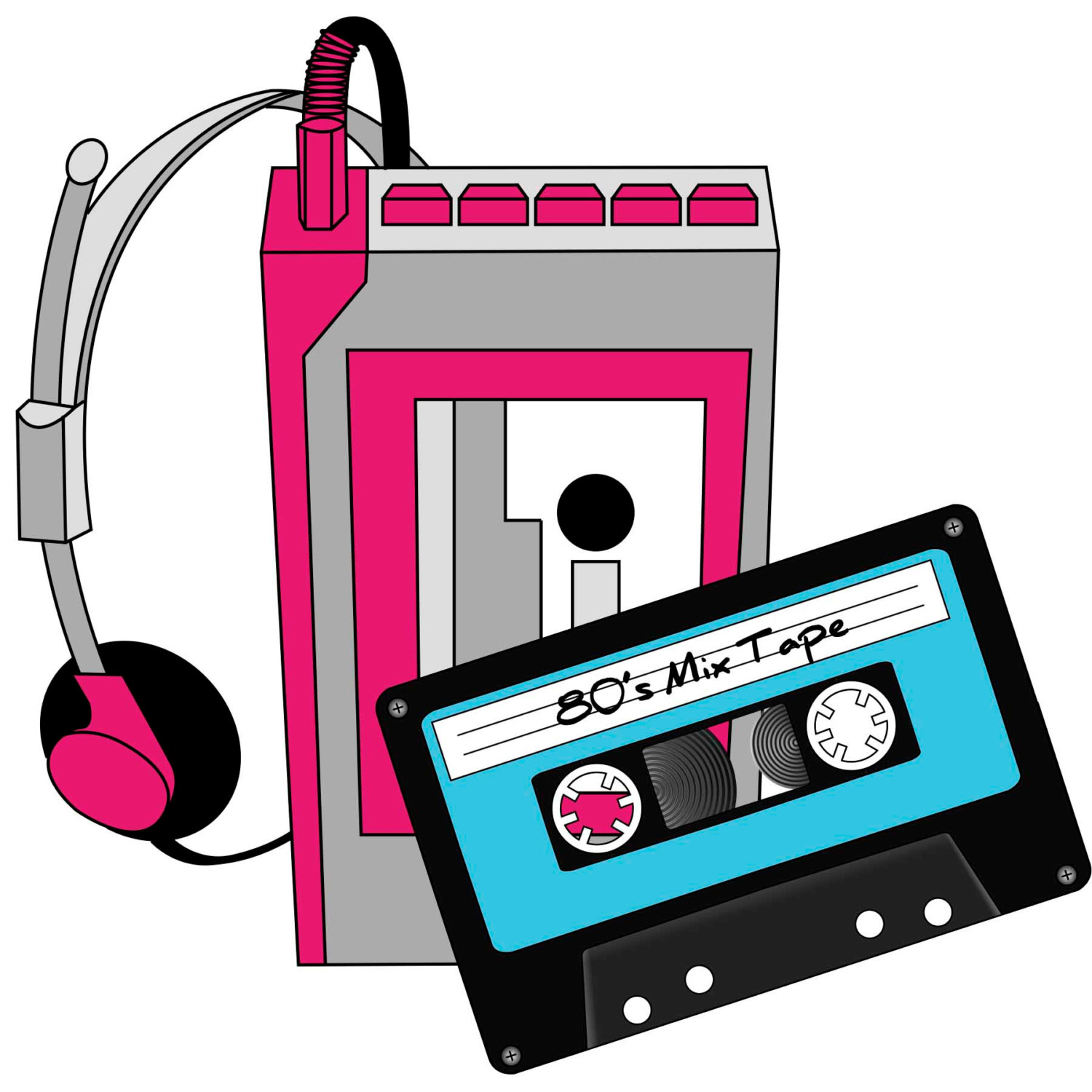 1500x1500 1980s, Eighties, Cassette Tape, Roller Skates, Mix Tape, Clipart