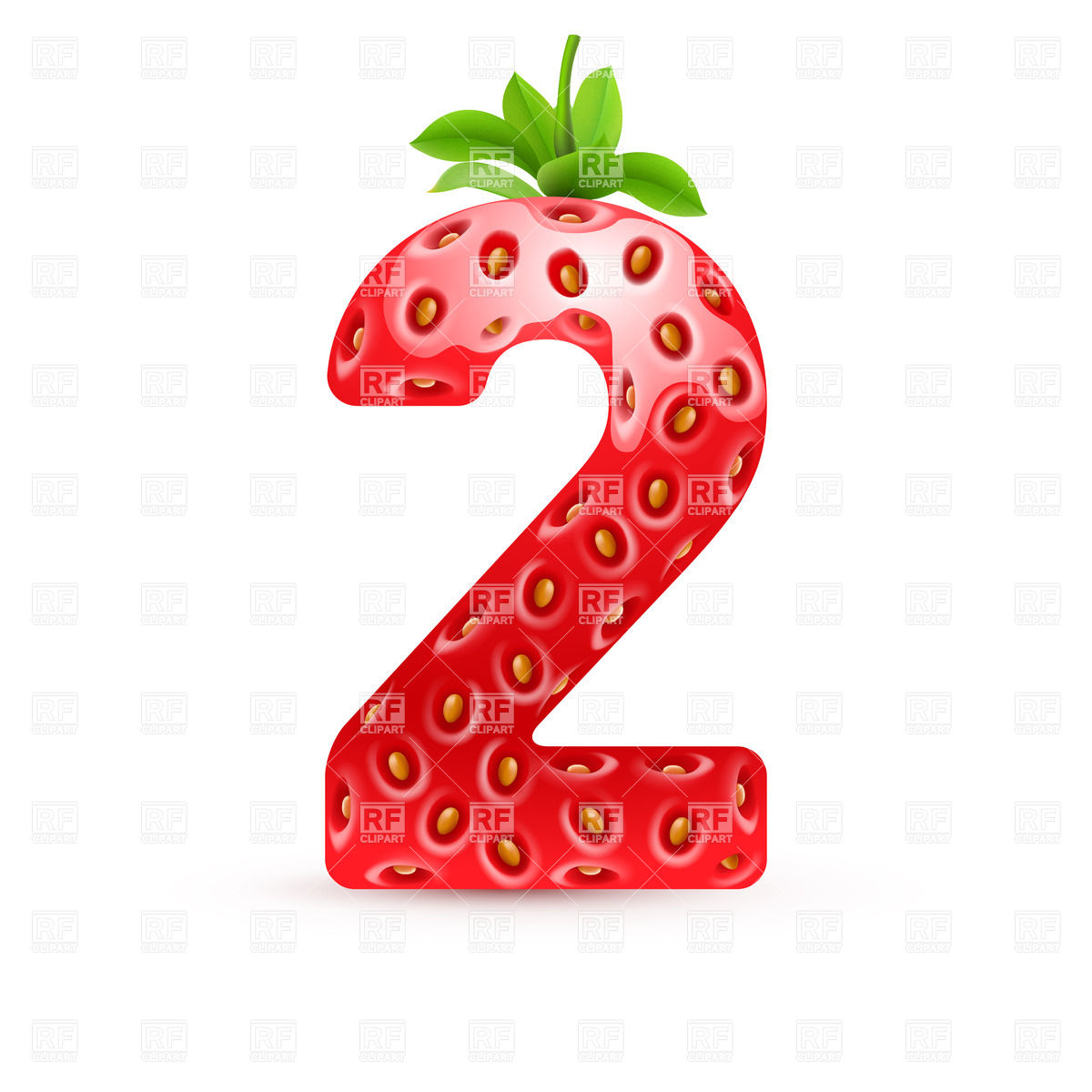 1200x1200 Strawberry Style Font, Number 2 Royalty Free Vector Clip Art Image