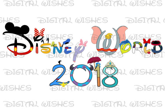570x378 Disney World 2018 Word In Character Text Family Vacation