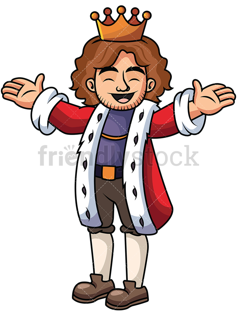 800x1067 Happy King With Open Arms Vector Cartoon Clipart
