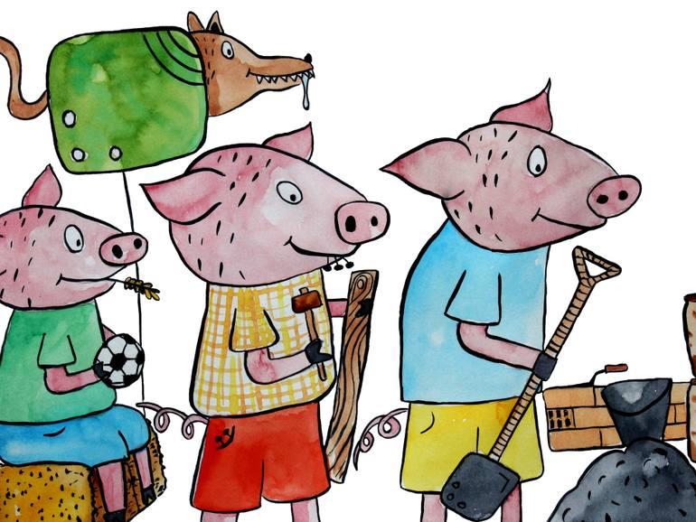 770x578 Saatchi Art Three Little Pigs Painting By Joana