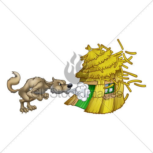 500x500 Three Little Pigs Big Bad Wolf Blowing Straw House Gl Stock Images