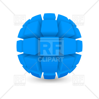 400x400 3d Divided Blue Sphere Royalty Free Vector Clip Art Image