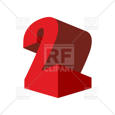 400x400 Number Two 3d Emblem Royalty Free Vector Clip Art Image