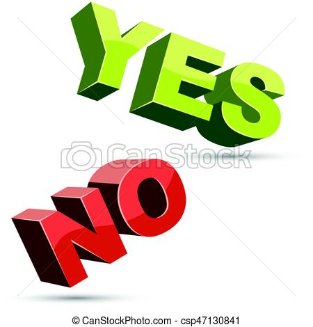 450x470 Yes And No 3d Shapes Flat Color Design On White Background . Eps