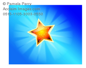 300x240 Clip Art Image Of A Shining 3d Star In A Blue Sky