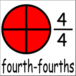 304x304 Clip Art Labeled Fractions 04 44 Four Fourths Color I Abcteach