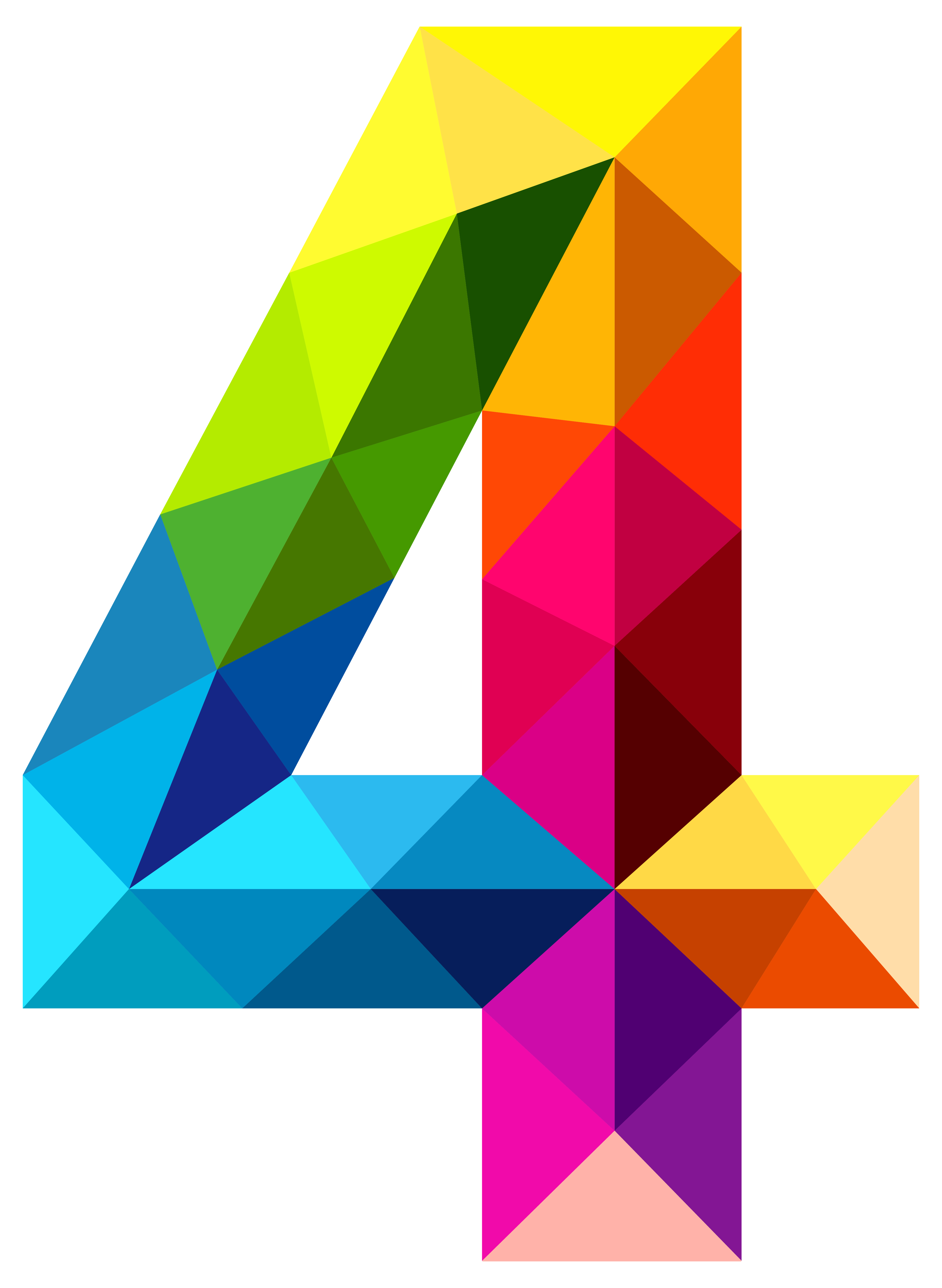 4144x5667 Colourful Triangles Number Four Png Clipart Imageu200b Gallery