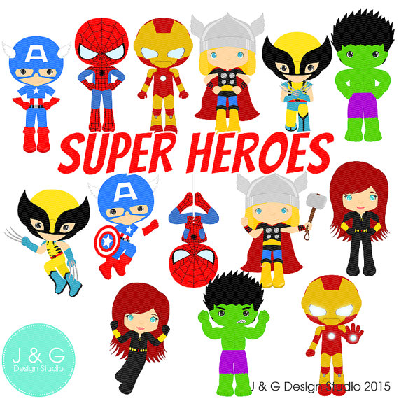 570x570 Super Heroes Clipart Series 4 Digital Clipart, Clip Art Collection