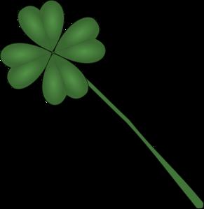 291x299 Four Leaf Clover With Stem Clip Art