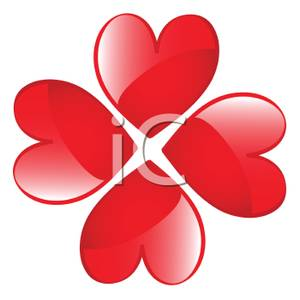 300x300 Four Red Hearts In A Four Leaf Clover