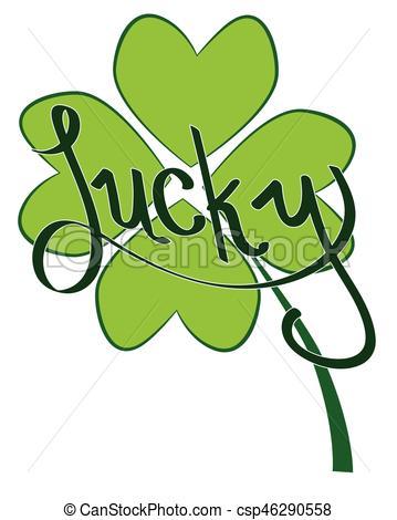 359x470 Lucky Four Leaf Clover Clipart Vector