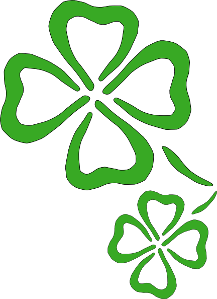 432x594 Two Four Leaf Clover Outlines Clip Art Icon