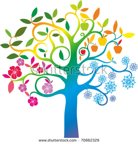 450x470 Four Seasons Trees Clipart Clip Art Spring Summer Winter Fall