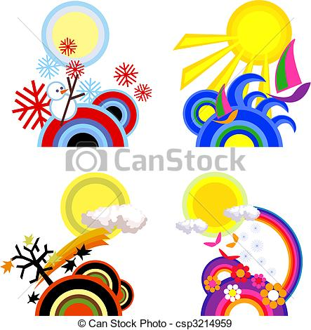 443x470 Four Seasons Icons On White Background Eps Vectors