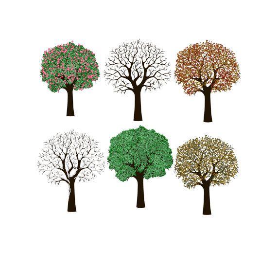 570x520 6 Digital Scrapbooking 4 Seasons Trees Tree By Changingvases