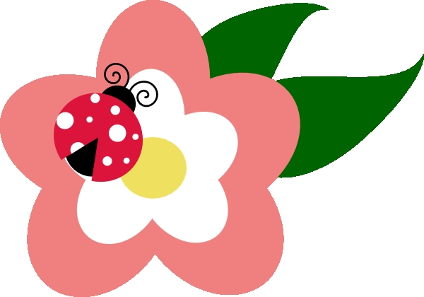600x420 Cute Flower Clipart Flower With Ladybug Clip Art At Clker Vector