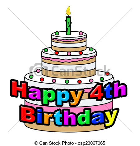450x470 Happy Fourth Birthday Means Greeting Celebrate And Stock