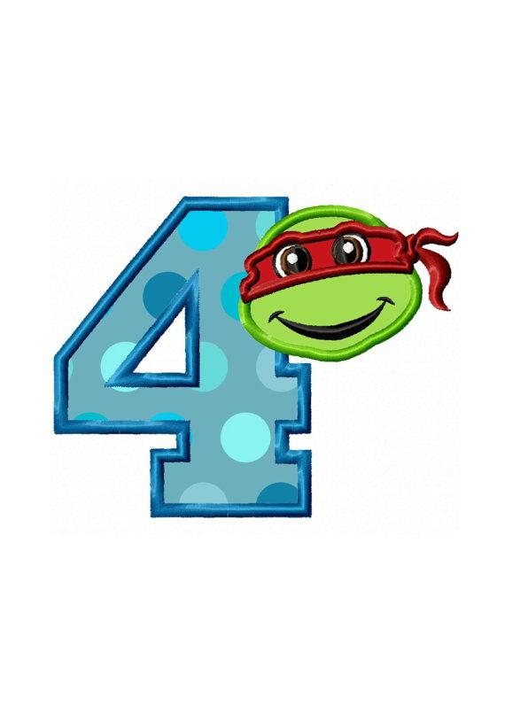 570x806 4th Birthday Turtle Instant Download Applique Machine