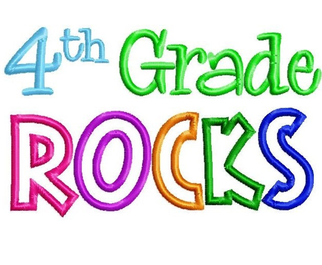 630x518 4th Grade Rocks 5x7 Embroidery Design Instant Download