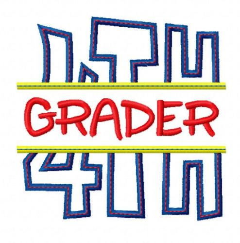 494x500 Split 4th Fourth Grade Applique Back To School