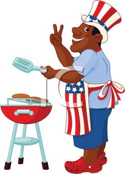 252x350 Cartoon Of An African American Dad Grilling On The 4th Of July