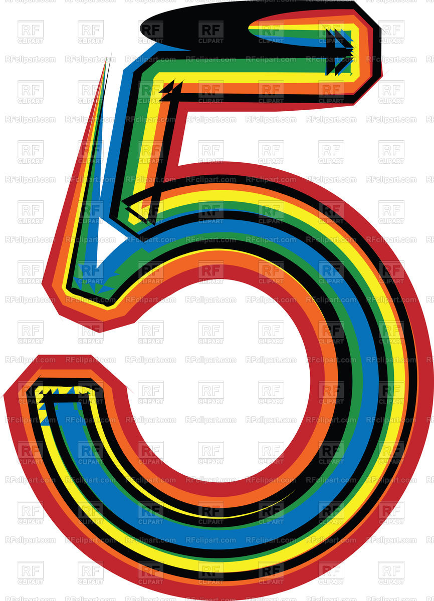 866x1200 Colorful Grunge Line Font Number 5 Royalty Free Vector Clip Art