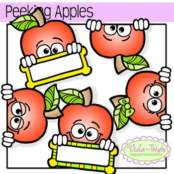 350x350 Free These Peeking Apple Faces With Labelsframes Clipart Clip Art