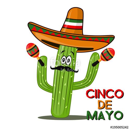 500x500 Cinco De Mayo Sombrero, Chili Pepper, Cactus And Maracas Festive