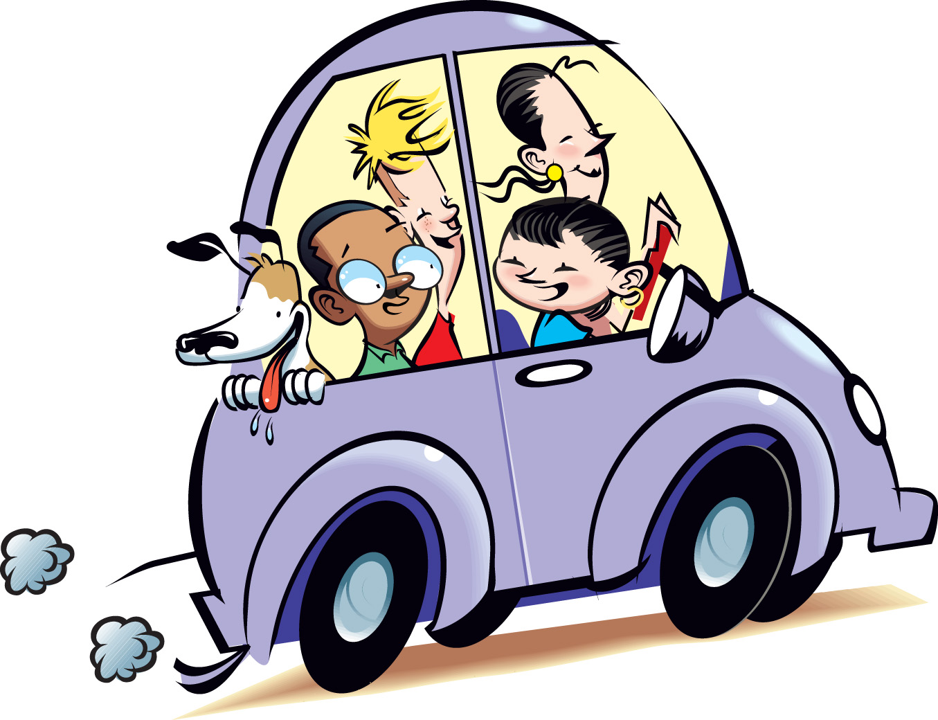 1355x1040 Family In 50s Car Clipart Transparent