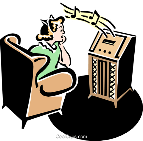 480x474 50's Style Radio With Teenager Listening Royalty Free Vector Clip